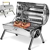 deuba | barbecue portable • double plaque • acier inoxydable • poignée ventilation | cuisson, bbq,