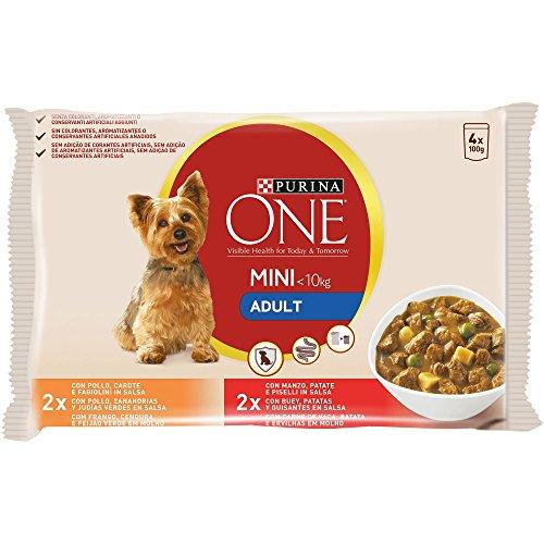 Purina One Mini Bocconi in Salsa Cane Adult con Pollo, Manzo e Verdure, per Cani Fino a 10 kg, 4 x 100 g - Confezione da 10 Pezzi