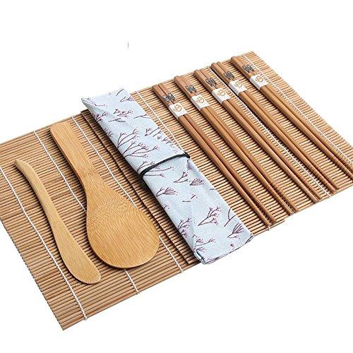 【Sushi Que Hace el Kit】,BRone Bambú Sushi Kit de fabricación 2 Pcs Natural Bambú Sushi Balanceo Esteras 1 Pcs Cuchara de Arroz 1 Pcs Esparcidor de Arroz 5 pares Palillos con 1 Case