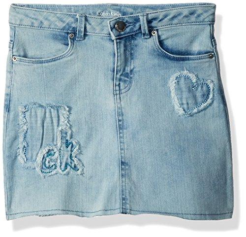 Calvin Klein Mädchen Broderie Cut-Off Denim Skirt Röcke - blau - 6X Cut-off-rock