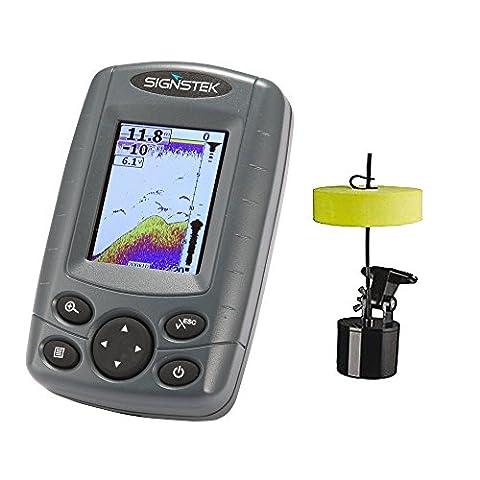 Signstek FF-003 Détecteur Portable de Poissons, Outil de Pêche Nautique, Sonar Capteur de Profondeur avec Ecran LCD,30M de