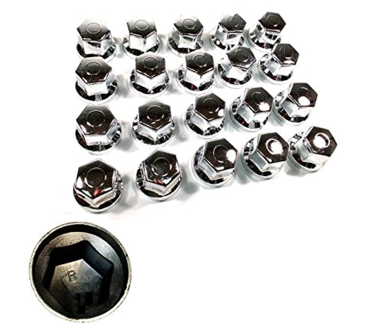 MGF Lot de 20 Cache-/écrous de Roue en Plastique chrom/é 32 mm de Profondeur pour Camion remorque