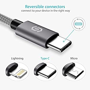 "Syncwire USB C a USB 3.0 Cable trenzado de Nylon 1m/3.3ft - cable tipo C para Samsung Galaxy S8, MacBook mit 12"" Retina Display,Macbook A1534,Google Chromebook Pixel,Nokia N1 Tablet,OnePlus 2 (Gris)"
