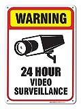 Aersing Home Decor Panneau 24Hour Surveillance Vidéo Sign Plaque en Métal pour extérieur/intérieur Utilisation Facile à Monter