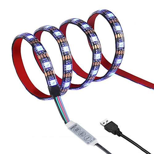 Led Streifen 1M Led Strip Beleuchtung 1M 60Leds IP65 Wasserdicht 5050 SMD Rgb Led mit Mini Controller und USB Kabel für Flachbildschirm Schrank Heim Dekorative Energieklasse A - 1-led-kabel