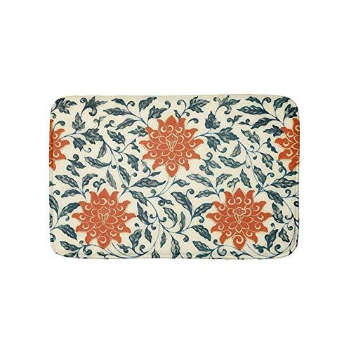 GDESFR Bodenmatte Orange Flowers Blue stem Chinese Pattern Bathroom Bath Door Mat Rug 15.7 X 23.6 Inch -