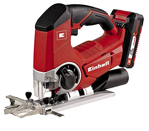 Einhell Akku Stichsäge TE-JS 18 Li Set Power X-Change (Lithium Ionen, 18 V, max. 80 mm, 4-Stufen Pendelhub, Absaugadapter, LED-Licht, inkl. 2,0 Ah Akku und Ladegerät)