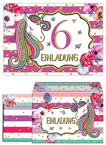 Junaversum 12 Einladungskarten incl. 12 Umschläge zum 6. Kindergeburtstag Mädchen Einhorn Unicorn Einladungen zum sechsten Geburtstag sechste