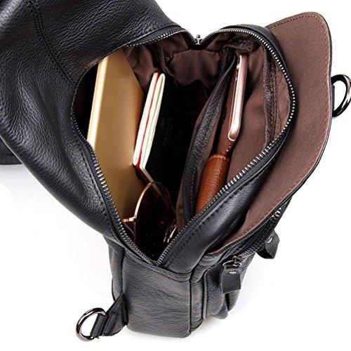 GTUKO JMD Echtes Leder Unisex Rucksack Lässig Brusttasche Vintage Männer Studenten Schultaschen Frauen Umhängetasche , Black Black