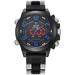 Alienwork DualTime LED Analogue-Digital Watch XXL Oversized Wristwatch Multi-function Polyurethane black black OS.WH-5202-03