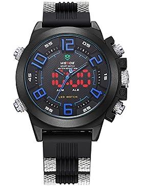 Alienwork DualTime LED Analog-Digital Armbanduhr XXL Oversized Uhr Multi-funktion schwarz Polyurethan OS.WH-5202-03