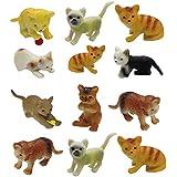 "12 Plastic Cat Toys Kitten Kitty Pussy Grumpy Hospital Vet Pet Litter Animal Models - Childrens Christmas Birthday Present idea Party Bag Filler Loot Favour Set Pack of 12 - 2"" Toys"