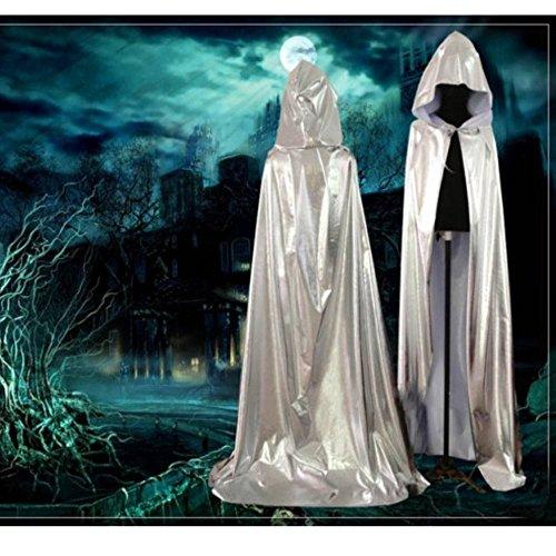 New Silber Sorcerer Cloak / Death Umhang / Cape Halloween Größe L (Cape Silber)