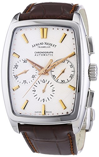 armand-nicolet-9634a-as-p968mr3-mens-automatic-watch-with-silver-dial-analogue-display-and-brown-lea
