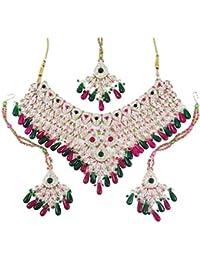 5a841e4f98b9 Bollywood Los Collares Del Diseñador Set Pendientes Gargantilla De La Boda  Regalo De Color Rosa Collar