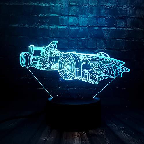 wangZJ 3d Lampe Optische Täuschung Led Nachtlicht / 7 Farben Lampen Mit Acryl Flach/abs Basis/usb Ladung Wohnkultur/Racing F1