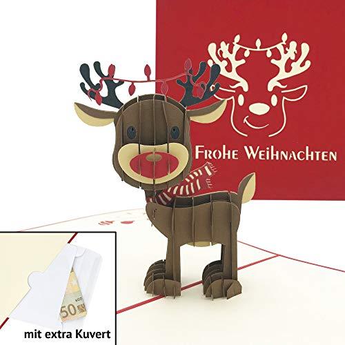 Handgemachte 3D Pop Up Weihnachtskarte mit Umschlag - Rentier Klappkarte - Ausgefallene Karte zu Weihnachten mit extra Geld-/Gutschein-Kuvert