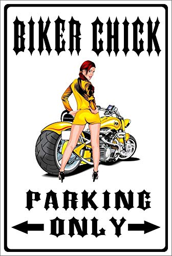 PotteLove Metallschild Biker Chick Parking Only, 30,5 x 45,7 cm -