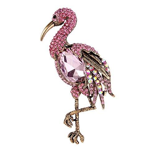 TENYE oesterreichische Kristall Standing Flamingo Vogel Tier Brosche Pink Antique Gold-Ton