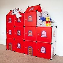 Niños Castillo de almacenamiento - Estantería infantil Cajas Armario niños Cajas para juguetes Biblioteca del organizador del hogar - Castillo Rojo Cubos 11