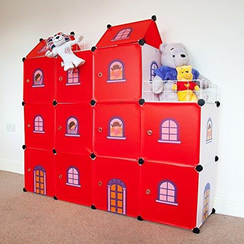 Kinder-Schloß Kinder kleiderschrank Spielzeug Kästen Bücherregal Organisator rote Schloss-Würfel 11 Flur Schrank Badschrank Hoch Regal Garderoben mit 3 Kleiderstange