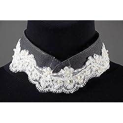 Cuello postizo hecho a mano con encaje bisuteria fina regalo personalizado