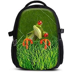 Mochila escolar para niños y niñas con compartimentos de MySleeveDesign - práctica para portátiles - Espalda y compartimentos acolchados, cómoda de llevar - con mucho espacio - Orange Frog