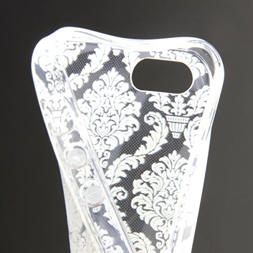 iPhone 4S Hülle, iPhone 4 Hülle, iPhone 4 / 4S Silikon Crystal Case Hülle mit Malerei Muster, SainCat Weiche Transparent Silikon Schutzhülle Hülle Gel Bumper Soft TPU Case Backcase Weiches Crystal Cle Blumen-Labyrinth