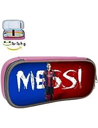 Lovely uu- printedandres Messi estudiantes Super gran capacidad estuche de lona pluma bolso de la