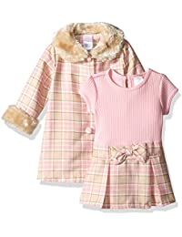 Youngland Baby Girls' 2 Piece Coat Set with Knit to Woven Dress