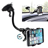 XOLO Q800 X-Edition Compatible Navigator Car Mobile Holder Stand | Premium 360 ° Degree Rotable Mobile Phone & GPS Device Holder For Desk Mount | Car Windshield | Car Dashboard | Working Desks | Best Quality Lower Price Car Mobile Holder Stand Mount | Premium Touch One Adjustable Car Mobile Holder - Black