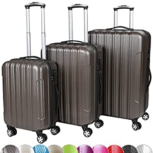 Vojagor Set of 3 Hard Shell Trolley Suitcases 4 Wheeled (360°) Travel Luggage Case DIFFERENT COLOURS
