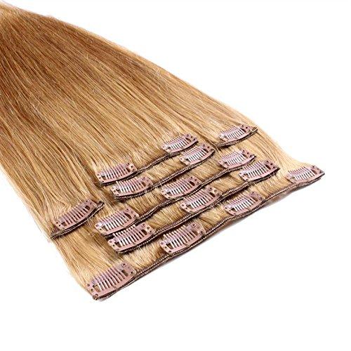 Just beautiful - extensions in capelli veri, con clip, 40 cm - 12 biondo miele