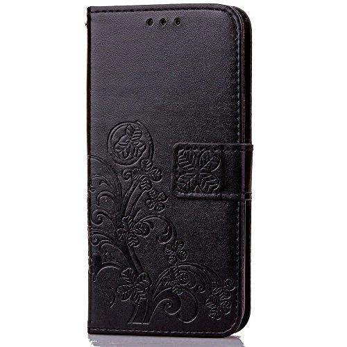 Double Magnetic Back Sucktion Retro Style PU Leder Flip Stand Case mit Kickstand und Wallet Beutel Funktion für Asus Zenfone 5 ( Color : Gray ) Black