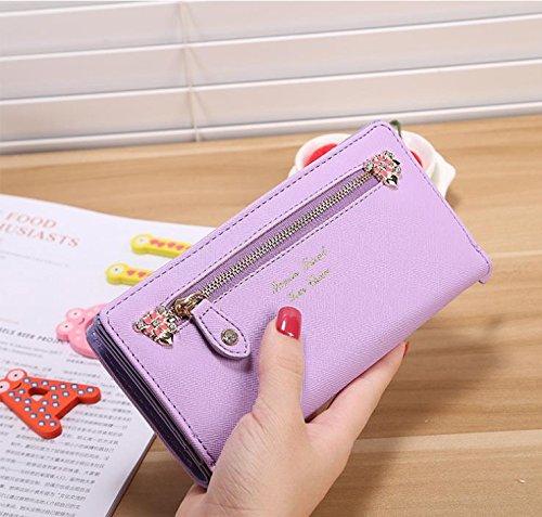 Hippolo Moda contratto ad alta capacità nuove donne di colore della caramella e borsa portafoglio borsa (Pink) Purple