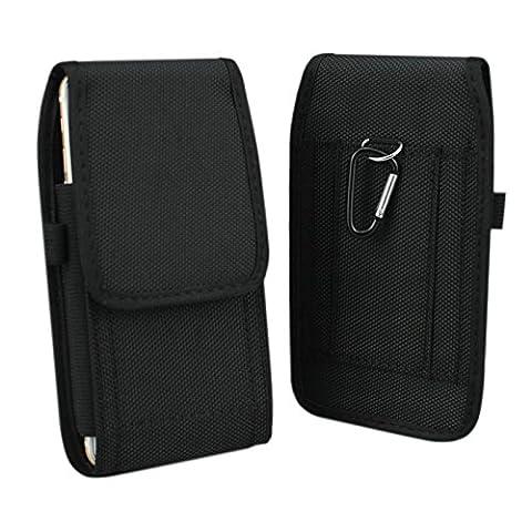 iPhone 6/6s/7/8 Plus 5.5'' Holster, aubaddy Vertical Pochette Étui en nylon avec étui de ceinture pour Huawei Mate 7/8/9 /Samsung Galaxy Note 3/4/5/S6 Edge Plus/S7 Edge/S8 Plus (Noir)