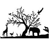 Winhappyhome foreste elefante giraffa albero Art Wall stickers per bambini camera da letto salotto cameretta TV sfondo rimovibile Decor decalcomanie