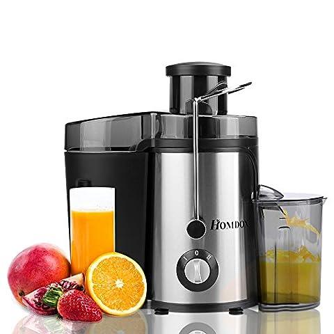 Homdox Entsafter Edelstahl Juicer Extractor Elektrisch Automatisch, 2 Geschwindigkeiten, für Obst und Gemüse mit Saftbehälter, 350