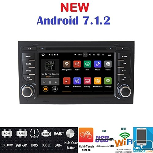 Android 7.1GPS DVD USB SD Navegador Wifi Bluetooth Radio 2Din Audi A4/Audi...