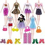 Kitty princess 17pcs = 5 pièces de vêtements +5 paires de chaussures +5 cintres +2 sacs pour poupée Barbie (style aléatoire)