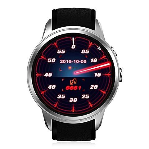 Diggro DI01 Montre Intelligent Android 5.1 IP67 MTK6580 1GB/16GB Smart Watch Nano SIM 3G WIFI 2.0MP 720p HD Caméra Appeler/Message Moniteur de Rythme Cardiaque Rappel Santé GPS Prévisions Météo pour Android et IOS (Argenté)