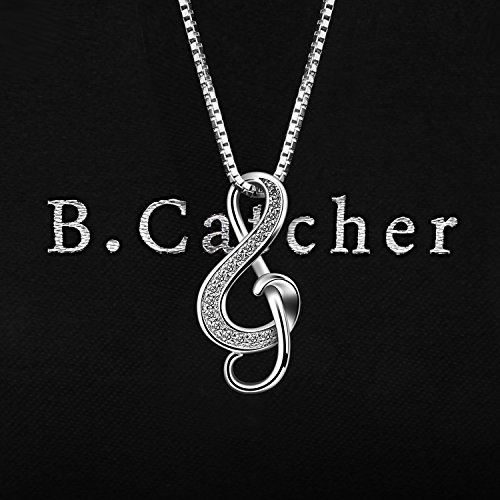 B.Catcher Silver Necklaces Music Note Pendant Necklace S925 Sterling Silver Women Jewellery FaCnj