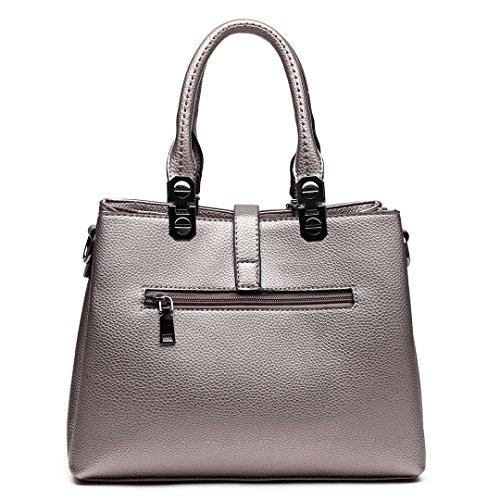 Miss LuLu Handtasche Damen Umhängetasche Aktentasche PU Leder Elegant für Frauen E1751- Silbrig