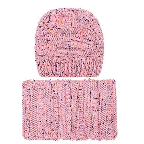 KPPONG Mode 9 Farben erhältlich Damen 2 Stück Set Frauen halten warme Winter Wolle Gestrickte Pferd Schwanz Loch Halstuch Hut