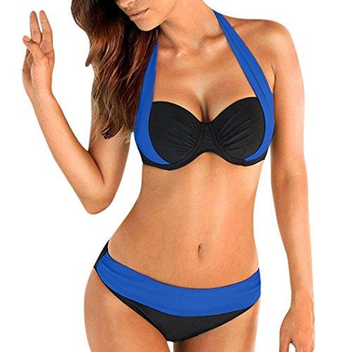 Fashion Dame Multicolor Bikini Sets Rosennie Frauen Push up Gepolsterter BH Bandeau Low Waist Cross Split Farbe Bademode Badeanzug Tauchanzug Plus Größe Design für Deutschland Frau (Blau, XL)