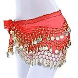 Lonshell Hüft-Tuch für Bauchtanz Münzgürtel Kostüm Hüfttuch Chiffon Rock Wrap Taille Gürtel Strandtuch Wickelbund Kurz Minirock Belly Dance Skirt