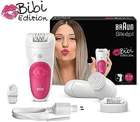 Braun Silk-épil Epilierer Bibi-Edition mit Gesichtsreinigungsbürste, rosa