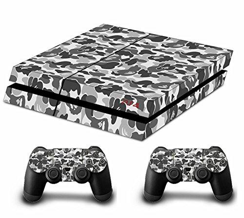 Morbuy PS4 Skin Design Folie Aufkleber Sticker schützende Haut Schale für Sony Playstation 4 Konsole und 2 Dualshock Controller Skins (Graffiti Grau)