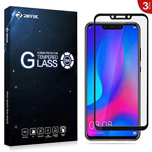 RIFFUE 3 X Huawei P Smart+ Panzerglas Schutzfolie, 3D Vollabdeckung 9H Gehärtete Screen Protector Tempered Glass Glas Folie für Huawei P Smart Plus [Anti-Kratzer] [Blasenfrei] - Schwarz