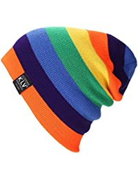 c883789d88f dragonaur Women Men Fashion Rainbow Beanie Hat Knitted Winter Warm Ski  Sports Cap - Black